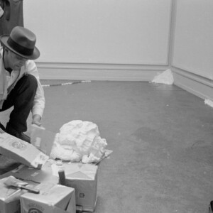 """Joseph Beuys working on Fettecke, 1969 """"When Attitudes Become Form"""" Kunsthalle Bern, 1969 Courtesy The Getty Research Institute, Los Angeles (2011.M.30) Photo: Balthasar Burkhard © J. Paul Getty Trust"""